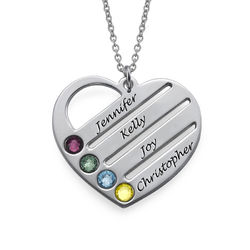 Birthstone Heart Necklace with Engraved Names product photo