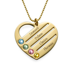 Birthstone Heart Necklace with Engraved Names in 10k Gold product photo