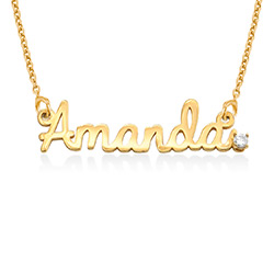 Cursive Name Necklace in Gold Plating with Diamond product photo