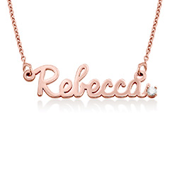 Cursive Name Necklace in Rose Gold Plating with Diamond product photo