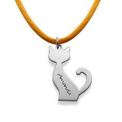 Personalized Cat Necklace in Silver product photo