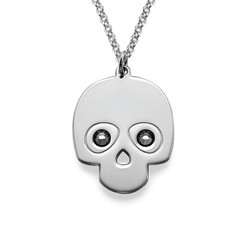 Sterling Silver Skull Necklace with Crystal Stones product photo