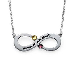 Couples Infinity Necklace with Birthstones product photo