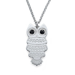 Owl Necklace with Back Engraving product photo