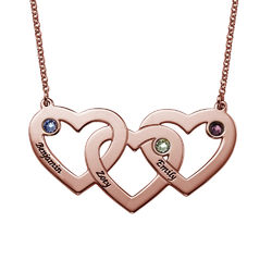 Intertwined Hearts Necklace with Birthstones - Rose Gold Plated product photo