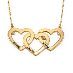 Intertwined Hearts Necklace with Diamonds in 18K Gold Plating product photo