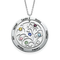 Family Tree Birthstone Necklace in Sterling Silver product photo