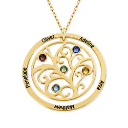 Family Tree Birthstone Necklace - 10K Yellow Gold product photo
