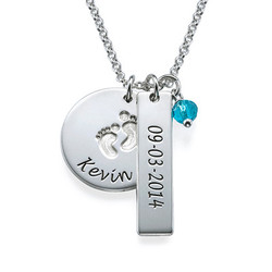 New Mom Jewelry - Baby Feet Charm Necklace product photo
