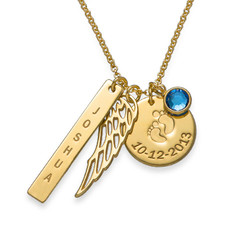 Personalized Mom Charm Necklace with Gold Plating product photo