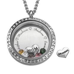 Engraved Floating Charms Locket - For Mom or Grandma product photo