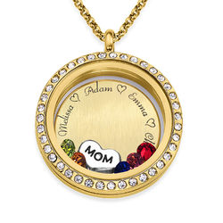 Engraved Floating Charms Locket - For Mom or Grandma with Gold Plating product photo