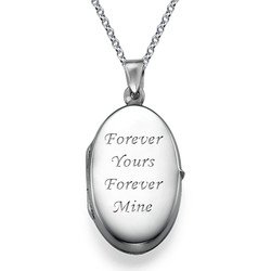 Large Engraved Locket in Sterling Silver product photo