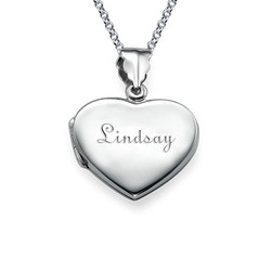 Mini Engraved Heart Locket in Sterling Silver product photo
