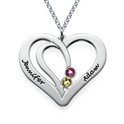 Engraved Couples Birthstone Necklace in Sterling Silver product photo