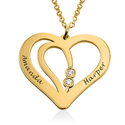 Engraved Couples Necklace in 18k Gold Plated with Diamond product photo