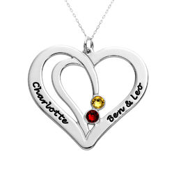 Engraved Couples Birthstone Necklace in 10K White Gold product photo