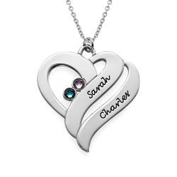 Two Hearts Forever One Necklace with Birthstones - Sterling Silver product photo