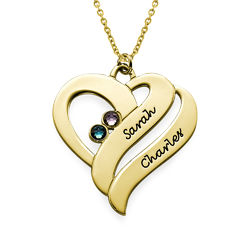 Two Hearts Forever One Necklace - 18k Gold Plated product photo