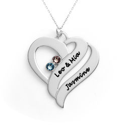 Two Hearts Forever One Necklace - 10k White Gold product photo