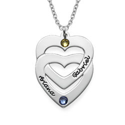 Engraved Vertical Heart in Heart Birthstone Necklace product photo