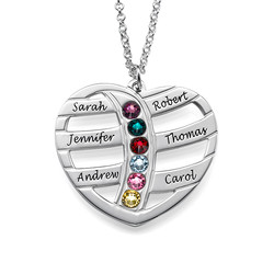 Engraved Heart Necklace with Birthstones product photo
