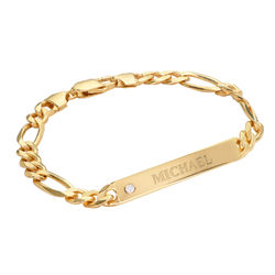 ID Bracelet for Men in Gold Plated with Diamond product photo