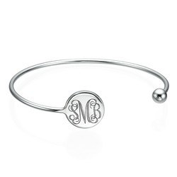 Monogram Bangle Bracelet in Silver - Adjustable product photo