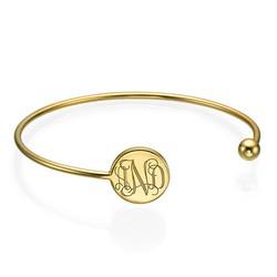 Monogram Bangle Bracelet in Gold Plating - Adjustable product photo