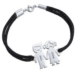 Silver Kids Holding Hands Charms Bracelet product photo