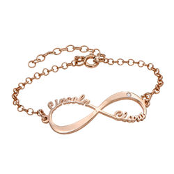 Personalized Infinity Bracelet in Rose Gold Plating with Diamond product photo
