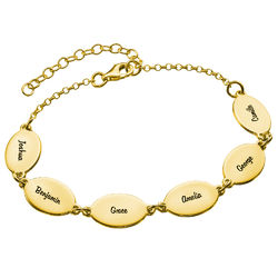 Vermeil Mom Bracelet with Kids Names - Oval Design product photo