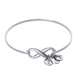 Infinity Bangle Bracelet with Initial Charms in Silver product photo