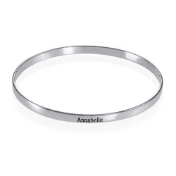 Engraved Bangle Bracelet in Silver product photo