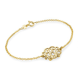 18k Gold Plated Sterling Silver Monogram Bracelet / Anklet product photo