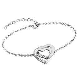 Diamond Interlocking Adjustable Hearts Bracelet in Sterling Silver product photo
