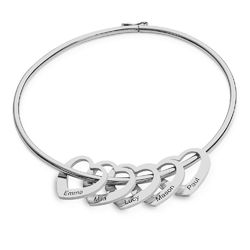 Bangle Bracelet with Heart Shape Pendants in Silver product photo
