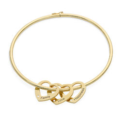 Bangle Bracelet with Heart Shape Pendants in Gold Plated with Diamonds product photo