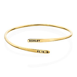 Engraved Adjustable 18k Gold Vermeil Cuff Bracelet product photo