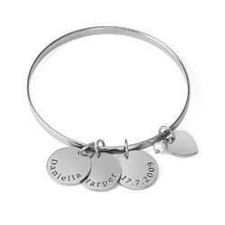 Bangle Bracelet with Personalized Pendants in Sterling Silver product photo