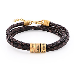 Women Braided Brown Leather Bracelet with Small Custom Beads in 18k Gold Plating product photo