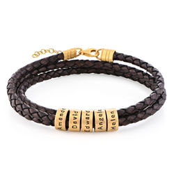 Women Braided Brown Leather Bracelet with Small Custom Beads in 18k Gold Vermeil product photo