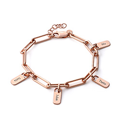 Rory Chain Link Bracelet with Custom Charms in 18K Rose Gold Plating product photo