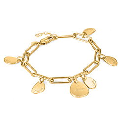 Personalized Chain Link Bracelet with Engraved Charms in 18K Gold Plating product photo
