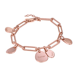 Personalized Chain Link Bracelet with Engraved Charms in 18K Rose Gold Plating product photo