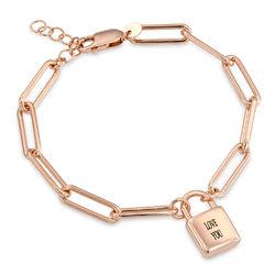 Allie Padlock Link Bracelet in Rose Gold Plating product photo