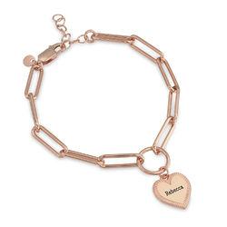 Heart Pendant Link Bracelet in Rose Gold Plating product photo