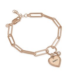 Heart Pendant Link Bracelet with Diamond in Rose Gold Plating product photo