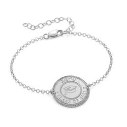Graduation Cap Personalized Bracelet in Sterling Silver product photo