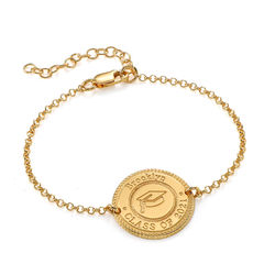 Graduation Cap Personalized Bracelet in Gold Plating product photo